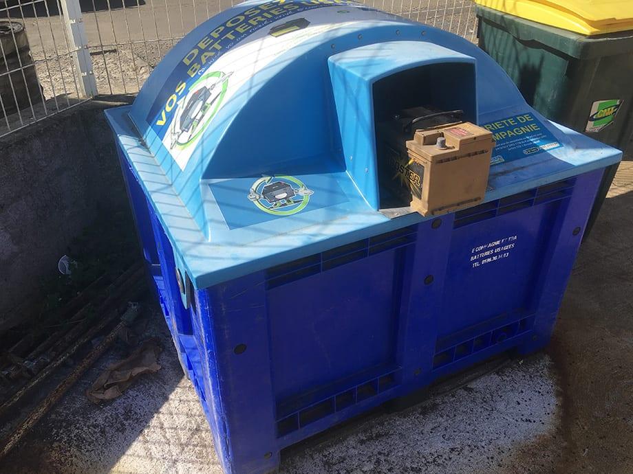 Collecteur de batterie usagée chez Nodin Pièces Auto